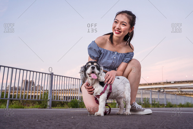 Thoughtful Asian female in denim shorts squatting on asphalt road on parking lot while cuddling American Cocker Spaniel in a leash under serene sky and looking away