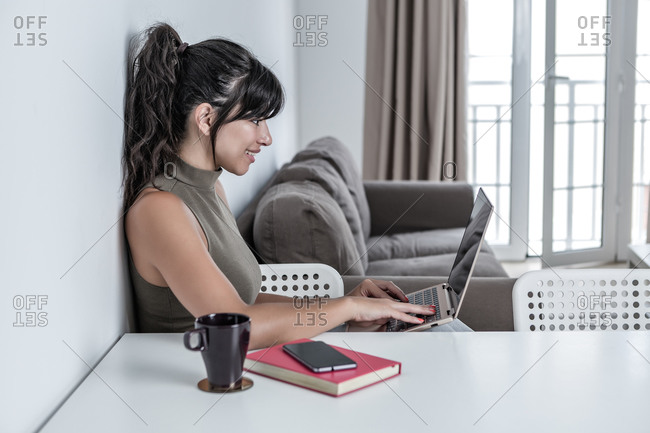 Side view of optimistic smiling female sitting at desk working on netbook in living room at home in modern apartment