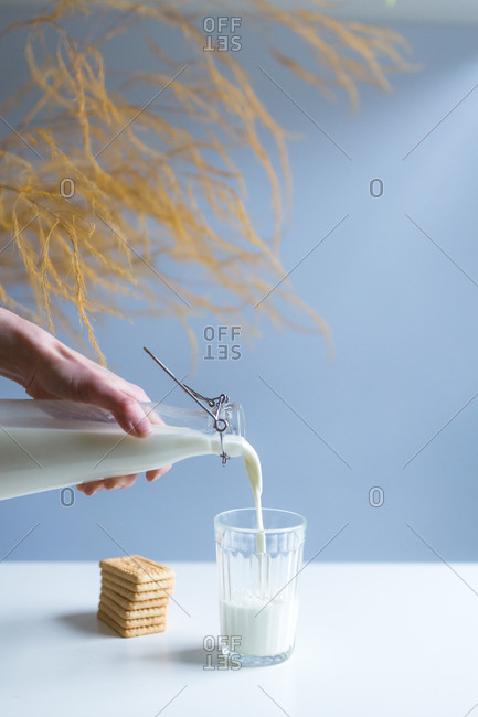 From above of crop anonymous person with transparent bottle pouring fresh milk into glass near pile of crunchy crackers on white table with decorative branch on blue background