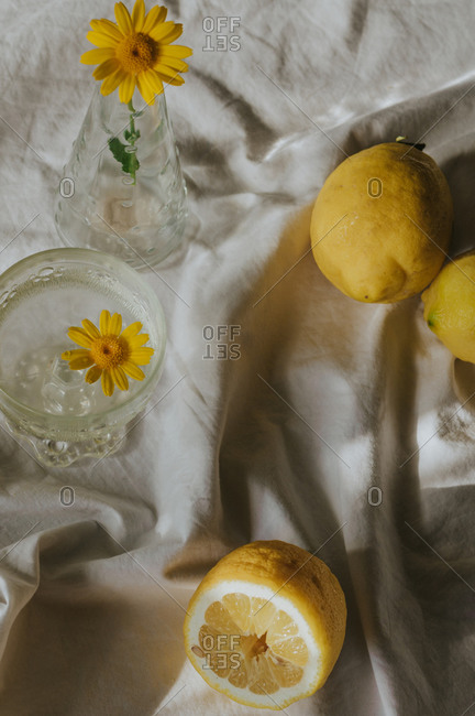 Delicate yellow chamomile in glass vase placed on table with white cloth near refreshing drink and composed with natural lemons