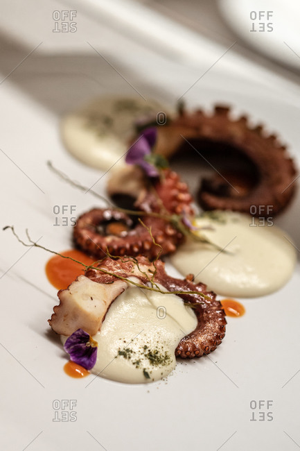 Closeup palatable octopus tentacles served on plate with yummy cream sauce and flower petals in restaurant