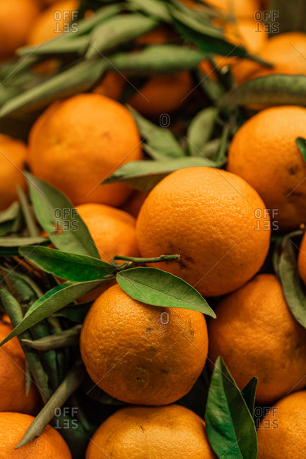 Closeup of heap of ripe orange placed on stall in local grocery market