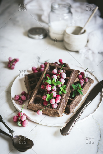 From above tasty freshly oatmeal chocolate waffles with gooseberries served on white plate with spoon and knife on light wooden table