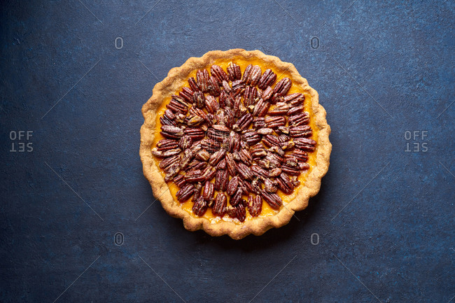 Overhead image of pecan pumpkin pie