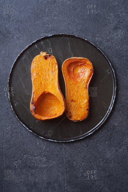 Halved and baked butternut squash