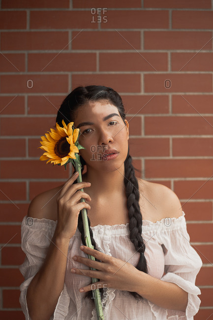 Young unemotional lady with vitiligo skin condition and pigtails holding bright sunflower with gentle petals while standing near brick wall and looking at camera
