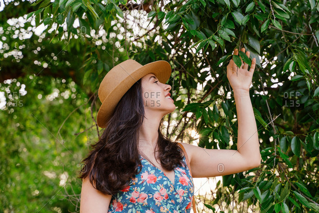 Charming young brunette in straw hat and summer dress standing among branches of tree and enjoying freshness while spending spring day in green garden