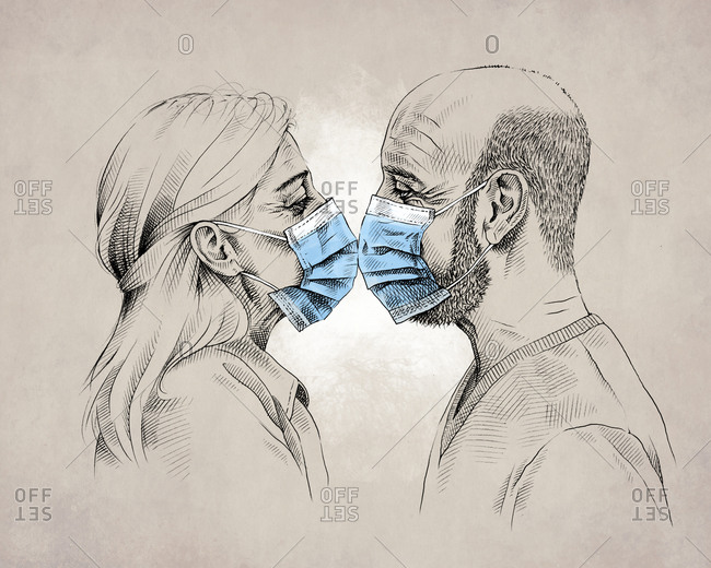 Drawing of profile of mature couple wearing blue protective masks and kissing during coronavirus pandemic