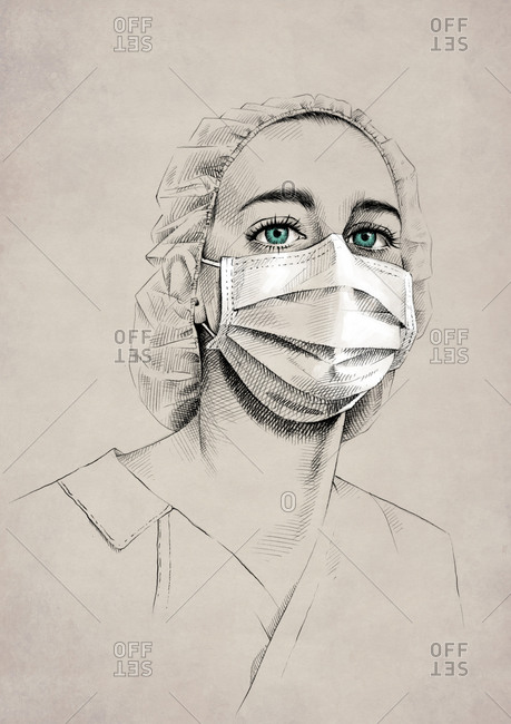 Drawing of young female medic with blue eyes wearing uniform and surgical mask