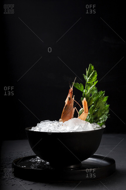 High angle of prawn in bowl with ice and parsley placed on black table in luxury restaurant