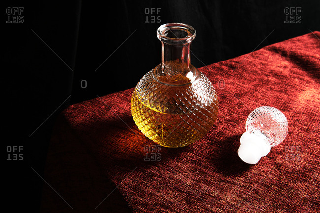 Close-up of one bottle of whiskey on a table