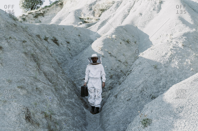 Man with briefcase wearing a beekeeper dress in a dry apocalyptical landscape