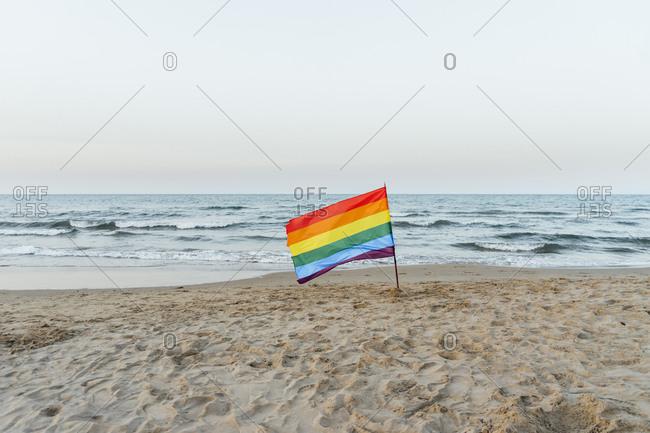 Gay pride flag on the beach