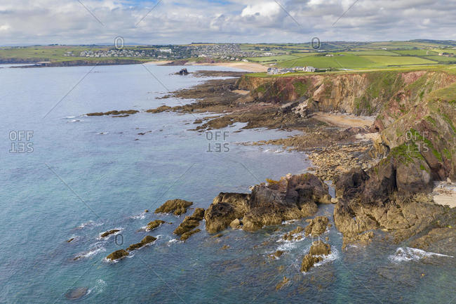 Aerial vista of Thurlestone Bay and village in the South Hams, Devon, England, United Kingdom, Europe