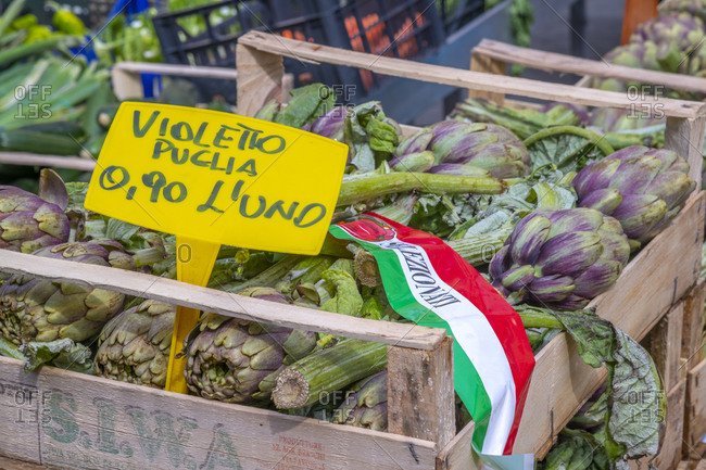 March 13, 2019: Artichokes for sale, market stalls, Campo de Fiori, Regola, Rome, Lazio, Italy, Europe