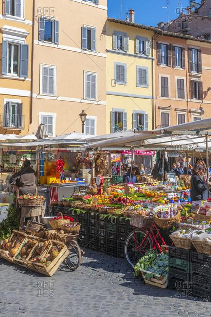 March 12, 2019: Market stalls, Campo de Fiori, Regola, Rome, Lazio, Italy, Europe