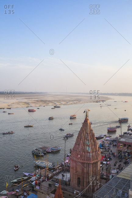 February 18, 2019: View of Varanasi Ghats and Ganges River, Varanasi, Uttar Pradesh, India, Asia