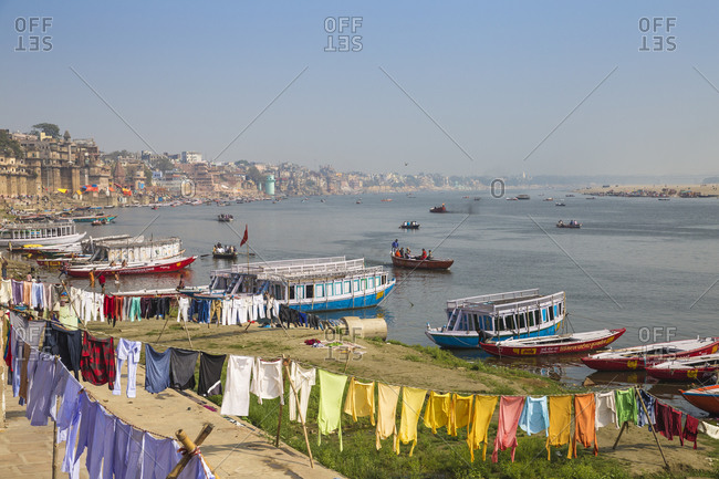 February 16, 2019: View of Varanasi and Ganges River, Varanasi, Uttar Pradesh, India, Asia