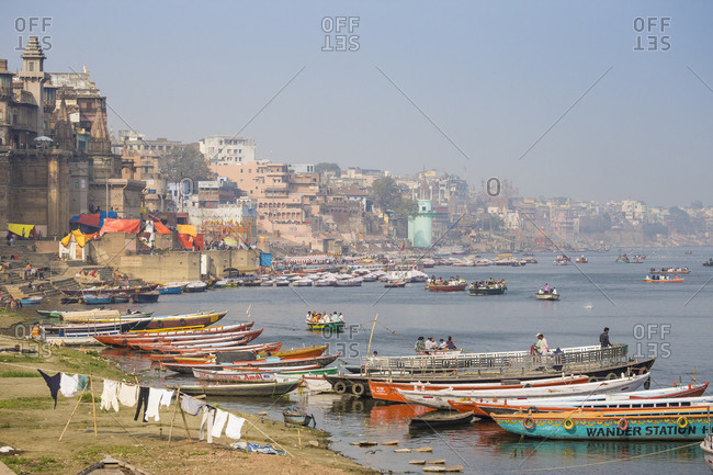 February 16, 2019: Washing drying on banks of Ganges River, Varanasi, Uttar Pradesh, India, Asia