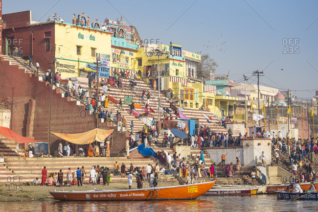 February 19, 2019: View towards Gauri Kedareshwar Temple at Vijaya Nagaram and Kedar Ghat, Varanasi, Uttar Pradesh, India, Asia
