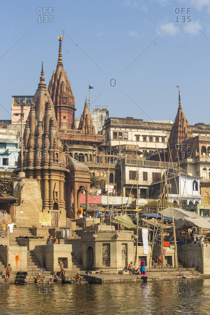 February 19, 2019: Manikarnika Ghat, the main burning (cremation) ghat, Varanasi, Uttar Pradesh, India, Asia