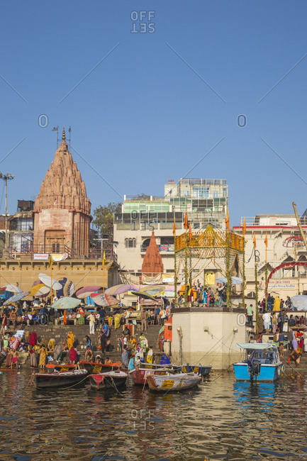 February 19, 2019: Dashashwamedh Ghat, the main ghat on the Ganges River, Varanasi, Uttar Pradesh, India, Asia