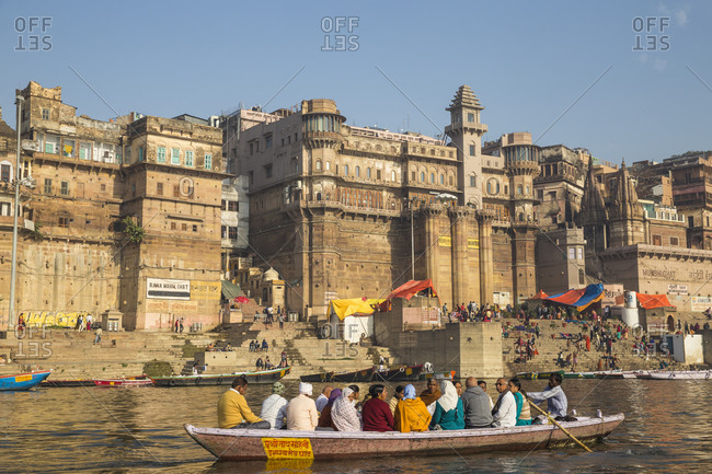 February 19, 2019: View towards Brijrama Palace Hotel at Darbanga Ghat, Varanasi, Uttar Pradesh, India, Asia