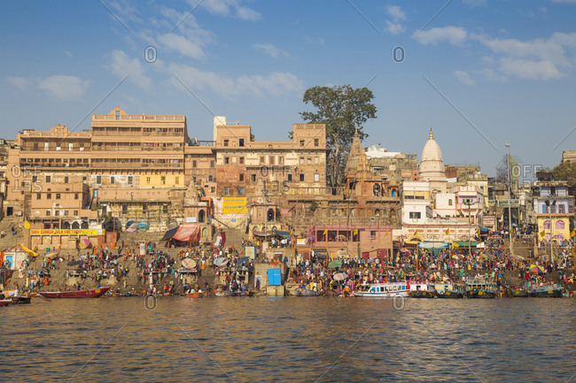 February 19, 2019: View towards Dashashwamedh and Munshi Ghats, Varanasi, Uttar Pradesh, India, Asia