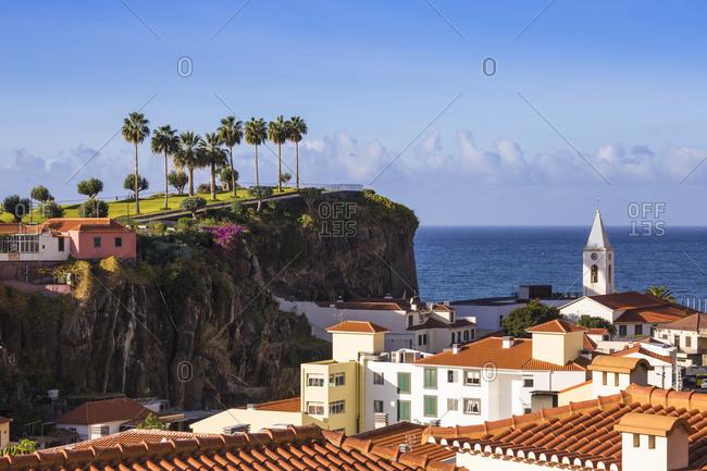 November 22, 2019: View of Camara de Lobos beneath Ilheu gardens, Funchal, Madeira, Portugal, Atlantic, Europe