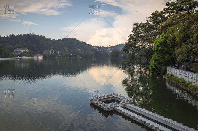 April 24, 2018: Kandy Lake and the Temple of the Tooth, Kandy, UNESCO World Heritage Site, Central Province, Sri Lanka, Asia