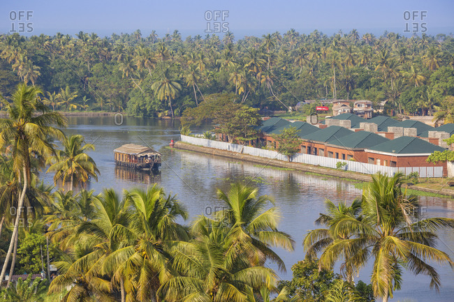 January 28, 2020: Houseboat on Backwaters, Alappuzha (Alleppey), Kerala, India, Asia