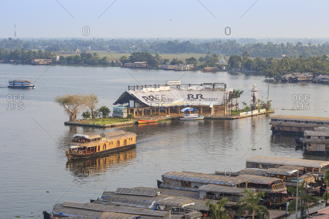 January 28, 2020: Houseboats on Backwaters, Alappuzha (Alleppey), Kerala, India, Asia