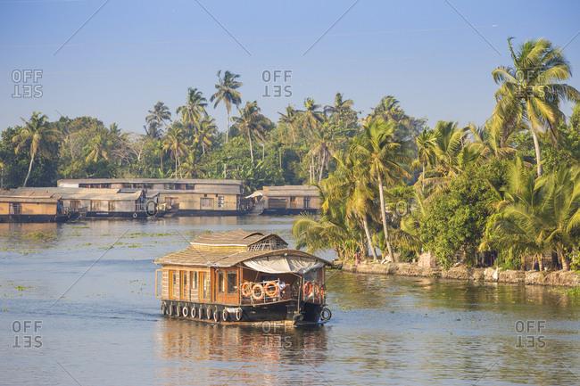 February 4, 2020: Houseboats on Backwaters, Alappuzha (Alleppey), Kerala, India, Asia