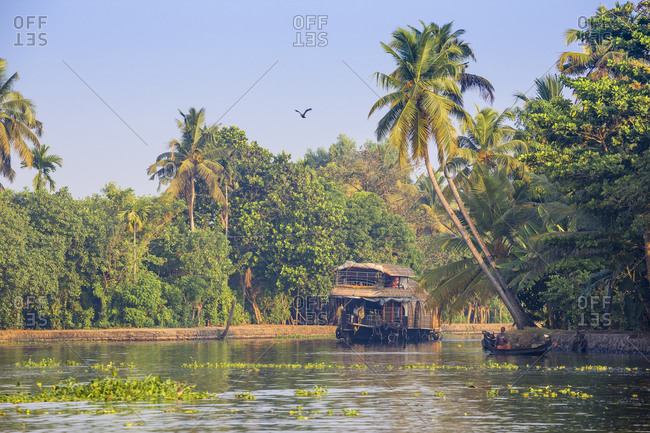 February 5, 2020: Houseboat on Backwaters, Alappuzha (Alleppey), Kerala, India, Asia