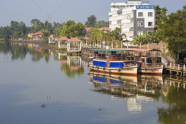 January 28, 2020: Kuttanad ferry terminal, Backwaters, Alappuzha (Alleppey), Kerala, India, Asia
