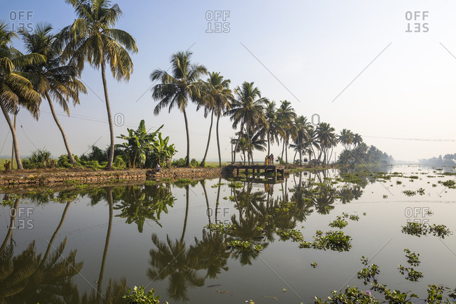Public ferry shelter, Backwaters, Alappuzha (Alleppey), Kerala, India, Asia