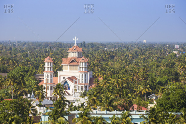 January 31, 2020: View of Infant Jesus Roman Catholic Latin Cathedral, Kollam, Kerala, India, Asia