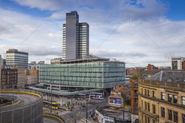 September 4, 2015: View looking over Arndale car park towards Studehill interchange, Manchester, England, United Kingdom, Europe