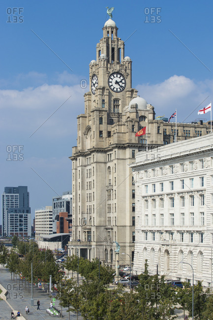 September 10, 2015: Pier Head, view of the Three Graces Buildings, UNESCO World Heritage Site, Liverpool, Merseyside, England, United Kingdom, Europe