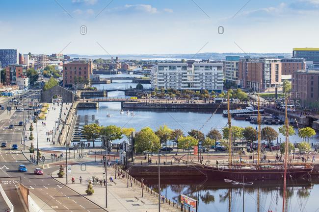 September 27, 2015: View of Albert Docks, Liverpool, Merseyside, England, United Kingdom, Europe