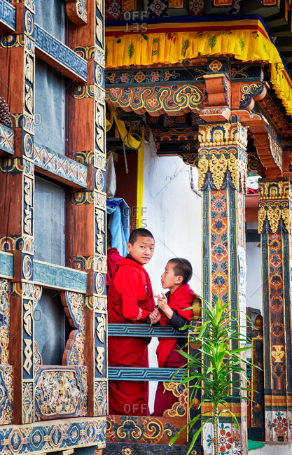 October 21, 2019: Novice Buddhist monks, Chimi Lhakhang Monastery, also known as the Fertility Temple, Punakha District, Bhutan, Asia
