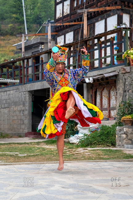 October 26, 2019: Bhutanese people performing the masked Cham Dance, Paro, Bhutan, Asia