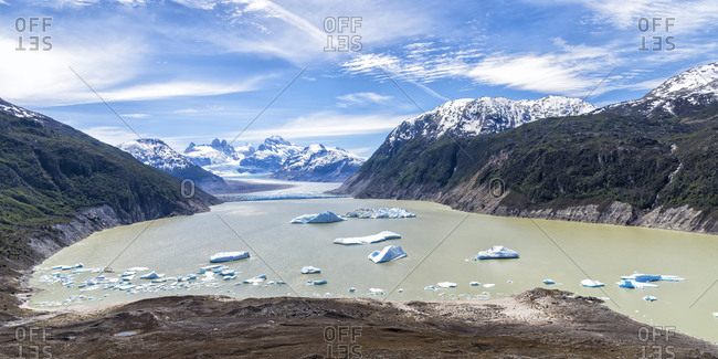 Glacial lake with small icebergs floating, Laguna San Rafael National Park, Aysen Region, Patagonia, Chile, South America