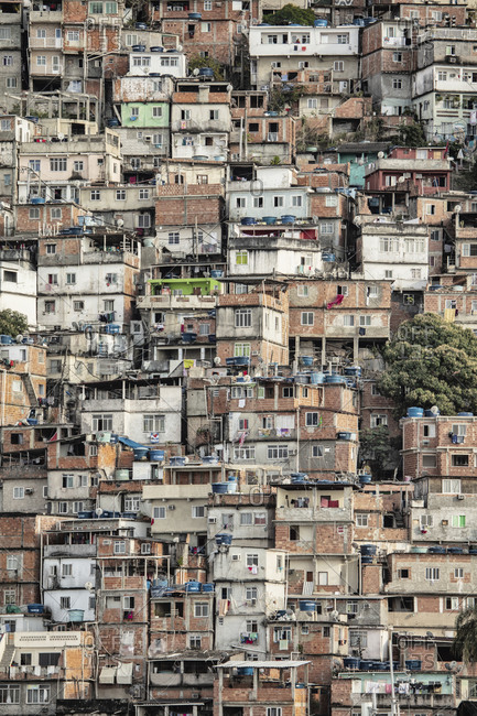 September 14, 2018: View of poor housing in the favela (slum), Cantagalo near Copacabana Beach, Rio de Janeiro, Brazil, South America