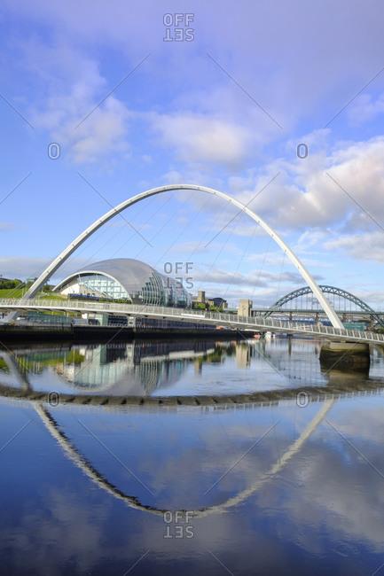 August 7, 2017: The Sage Arts Centre, Gateshead Millennium Bridge and Tyne Bridge over the Tyne River, Gateshead, Tyne and Wear, England, United Kingdom, Europe