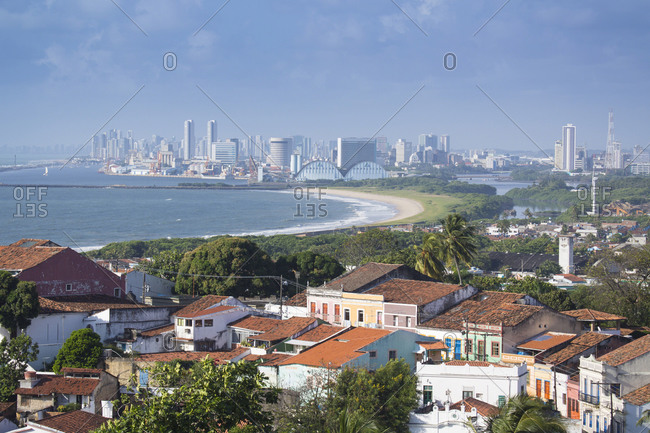 June 15, 2020: Olinda the historic center, UNESCO World Heritage Siite, with the city of Recife in the distance, Pernambuco, Brazil, South America