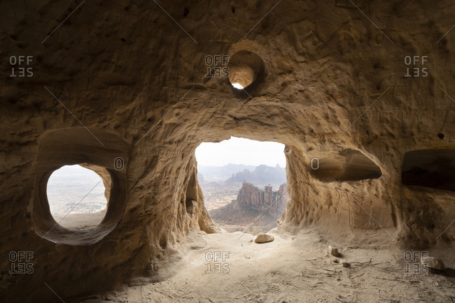 February 4, 2020: Natural windows inside cave at the entrance of Daniel Korkor rock-hewn church, Gheralta Mountains, Tigray Region, Ethiopia, Africa