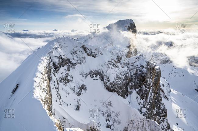 Aerial view of Punta Penia and west ridge of Marmolada covered with snow, Dolomites, Trentino-Alto Adige, Italy, Europe