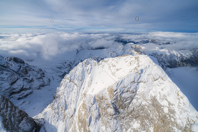 Aerial view of Gran Vernel covered with snow, Marmolada group, Dolomites, Trentino-Alto Adige, Italy, Europe