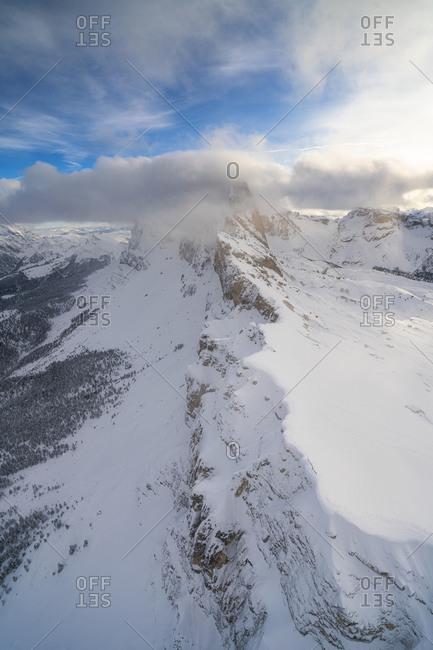 Seceda and Odle mountain range in winter, aerial view, Val Gardena, Dolomites, Trentino-Alto Adige, Italy, Europe